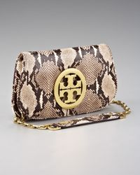Tory Burch - Natural Reva Clutch, Python - Lyst