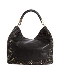 Saint Laurent - Black Leather Sac Roady Rock Studded Hobo - Lyst