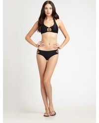Badgley Mischka | Black Tangier Halter Bikini Top | Lyst