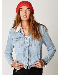 Free People | Blue Iro Denim Sherpa Jacket | Lyst
