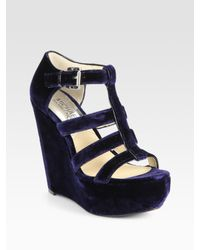 MICHAEL Michael Kors | Blue Faye Suede Platform Wedge Sandals | Lyst