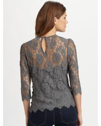 MILLY | Gray Chantilly Lace Caterina Puff Sleeve Top | Lyst