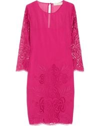 Stella McCartney | Pink Embroidered Cotton and Silk-blend Dress | Lyst