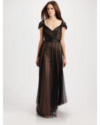 Tadashi Shoji | Black Tulle Cap Sleeve Gown | Lyst