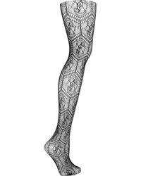 Wolford | Black Circle Net Patterned Tights | Lyst