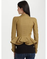 Alexander McQueen | Natural Cotton/silk Peplum Jacket | Lyst