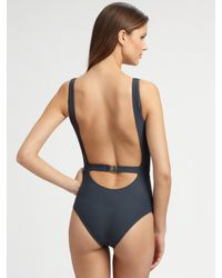 Chloé - Gray Scoop Back Sporty One-piece Swimsuit - Lyst