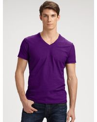 DIESEL | Purple Slubbed V-neck Tee for Men | Lyst