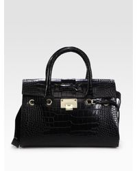 Jimmy Choo - Black Large Rosalie Croc-stamped Leather Satchel - Lyst