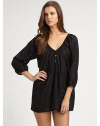 Joie | Black Vintage Eyelet Cotton Coverup | Lyst