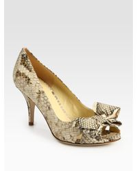 kate spade new york | Natural Susan Snake-print Leather Peep Toe Bow Pumps | Lyst