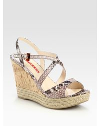 Prada | Gray Cork Wedge Sandals | Lyst