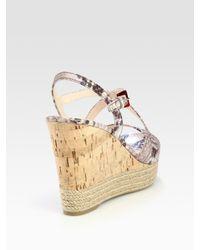 Prada - Gray Cork Wedge Sandals - Lyst