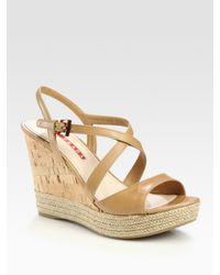 Prada | Natural Leather Espadrille Wedge Sandals | Lyst