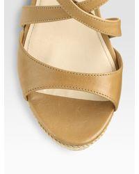 Prada | Natural Leather Espadrille Wedge Sandals | Lyst