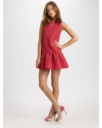 RED Valentino | Red Faille Polka Dot Dress | Lyst
