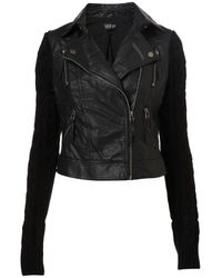 TOPSHOP - Black Cable Knit Sleeve Biker - Lyst