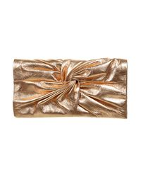 TOPSHOP - Metallic Leather Rose Gold Purse - Lyst