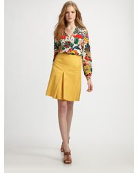 Tory Burch | Yellow Dalton Silk Blouse | Lyst