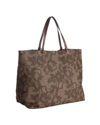 Valentino | Brown Lace Print Coated Canvas Tote | Lyst