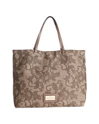 Valentino - Brown Lace Print Coated Canvas Tote - Lyst