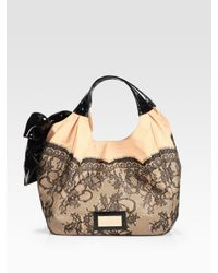 Valentino | Black Lace-trimmed Staw & Patent Leather Hobo Bag | Lyst