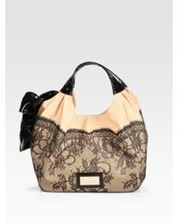 Valentino - Black Lace-trimmed Staw & Patent Leather Hobo Bag - Lyst
