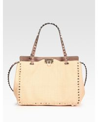 Valentino | Natural Rockstud Small Straw Tote Bag | Lyst