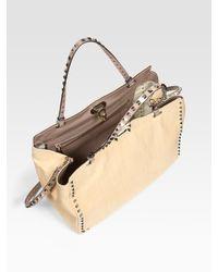 Valentino - Natural Rockstud Small Straw Tote Bag - Lyst