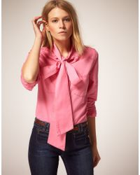 ASOS Collection | Pink Asos Pussybow Coloured Denim Blouse | Lyst