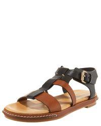 Chloé   Black Banded Colorblock T-Strap Sandal   Lyst