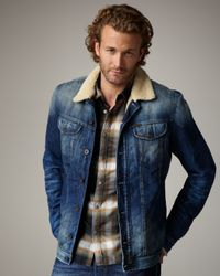 DIESEL | Blue Faux Fur-lined Denim Jacket for Men | Lyst