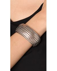 Giles & Brother | Metallic Rounded Graph Silver Oxide Cuff | Lyst