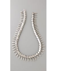 Giles & Brother - Metallic Silver Oxide Petal Fringe Necklace - Lyst