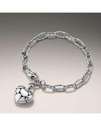 John Hardy | Metallic Link Bracelet with Heart Charm | Lyst