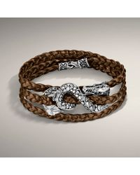 John Hardy - Brown Metalic Bronze Leather Triple Wrap Bracelet with Dragon Accent - Lyst