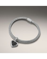 John Hardy | Black Small Heart Charm Bracelet | Lyst
