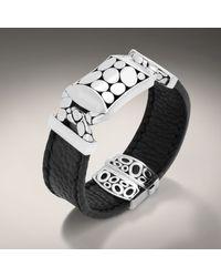 John Hardy - Black Leather Opium Pillow Station Bracelet for Men - Lyst