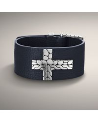 John Hardy - Blue Leather Bracelet with Cross Accent for Men - Lyst