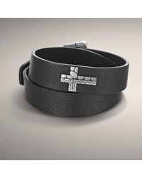 John Hardy - Black Leather Double Wrap Bracelet with Cross Accent for Men - Lyst
