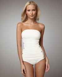 Juicy Couture | White Miss Divine Ruched Swimsuit | Lyst