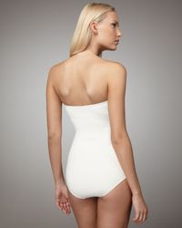 Juicy Couture - White Miss Divine Ruched Swimsuit - Lyst
