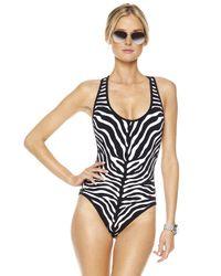 Michael Kors   Black Zebra-print Maillot Swimsuit   Lyst