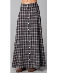 MINKPINK | Gray Check Republic Button Through Maxi Skirt | Lyst