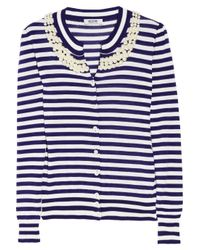 Boutique Moschino | Blue Pearl Embellished Stripey Cardigan | Lyst