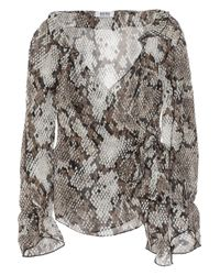 Boutique Moschino | Multicolor Snake Print Wrap Chiffon Blouse | Lyst