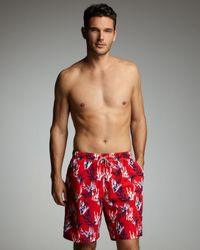 Peter Millar | Red Coral-print Swim Trunks for Men | Lyst