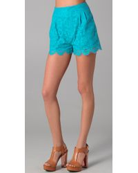 Rebecca Minkoff | Blue Haley Cutout Lace Shorts | Lyst