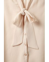 TOPSHOP - Natural Pussybow Blouse - Lyst