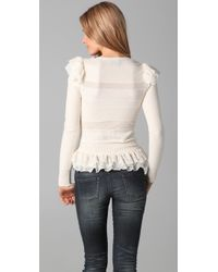 Torn By Ronny Kobo - White Amber Ruffle Sweater - Lyst